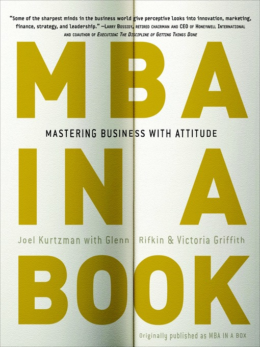 Title details for MBA in a Book by Joel Kurtzman - Available